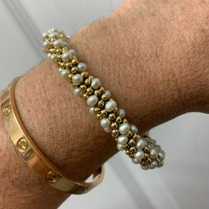 Meredith Frederick Pearl and Gold Bracelet